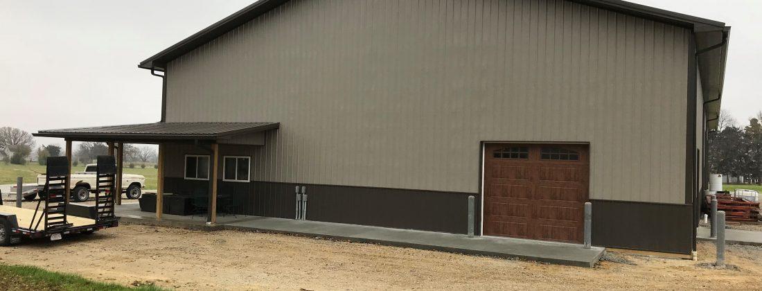 large tan and brown pole barn