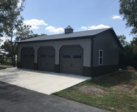 three car metal post-frame garage